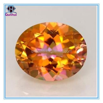 Charming oval shaped orange cz gemstone