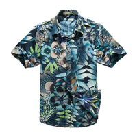 Hot Sale Big Leafs Printed Hawaiian Rugby Shirts
