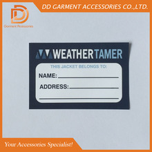 customized garment care label paper