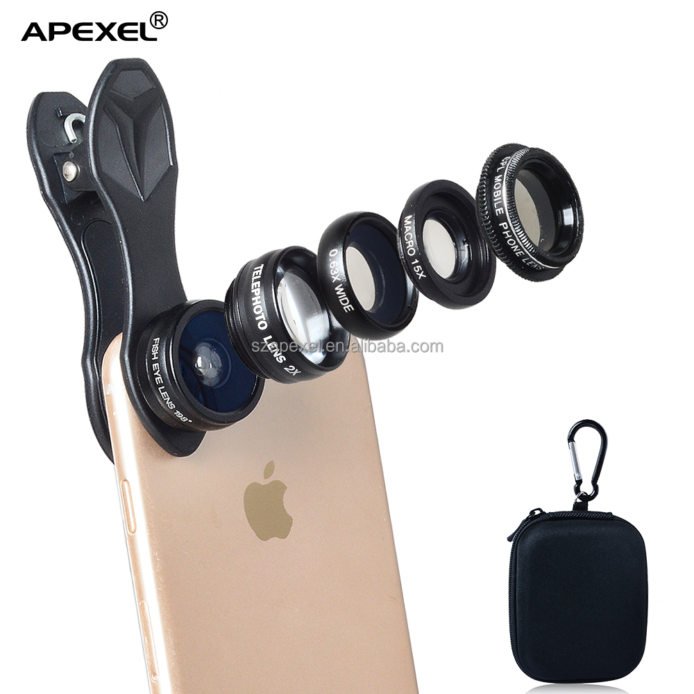 europe mobile photographic lenses external 5in1 camera lens kit for mobile