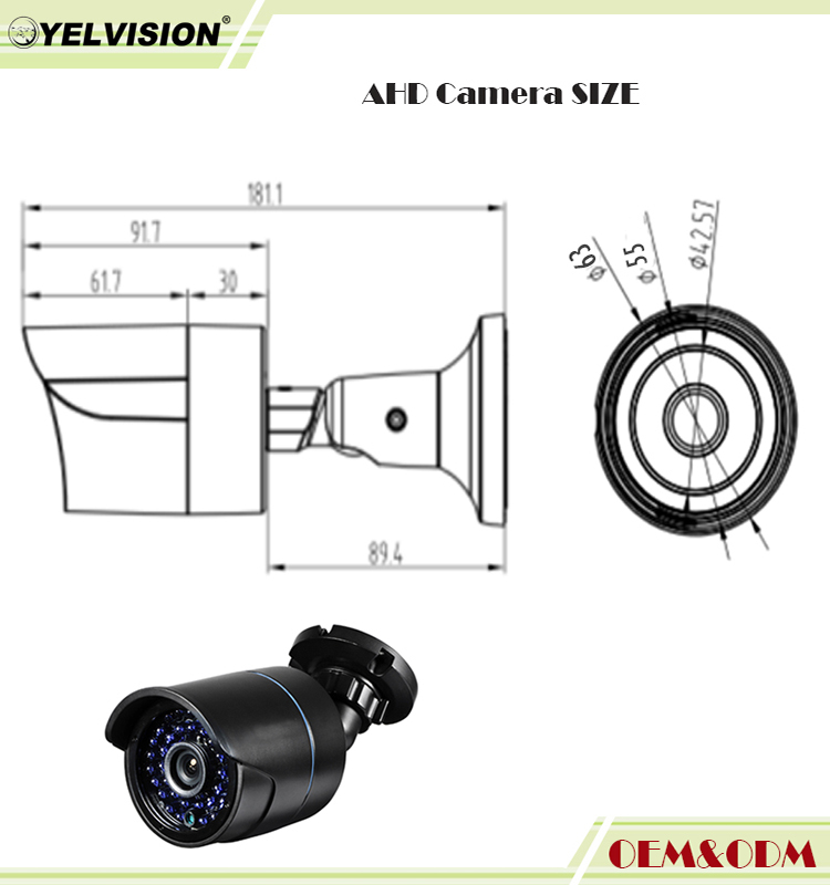 <strong>1080P</strong> 2.0MP high definition outdoor Waterproof bullet color video surveillance equipment LED CCTV AHD Camera