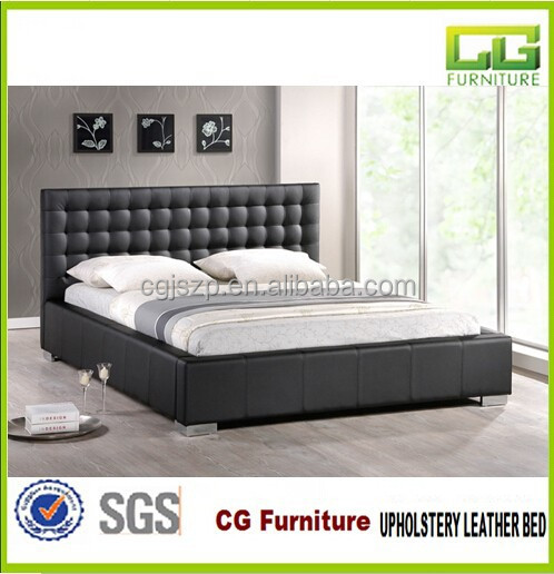 Modern black bedroom Furniture faux prado Bed with buttons