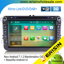 "Erisin ES3715V 8"" Android 7.1 Car DVD GPS Stereo 3G wifi bluetooth DAB for Passat CC Golf Touran Eos Seat"