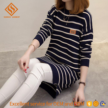 women pullover sweater round neck long sleeve strip pattern garment factory sales