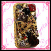 Aidocrystal gold crystal bowknot Red lip lipstick skull decor 3d rhinestone cell phone covers