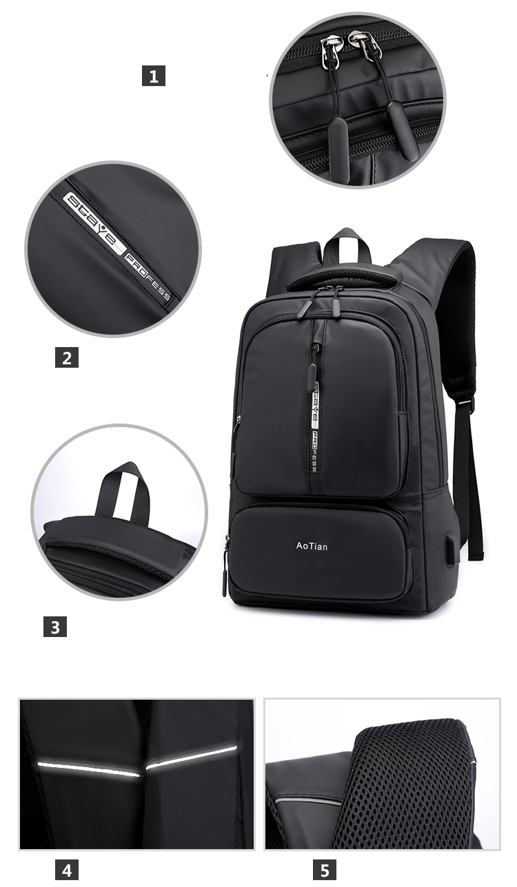 Waterproof Nylon Smart Business 15.6 inch Computer back pack bag Fashion Travel Laptop Backpack bag With USB
