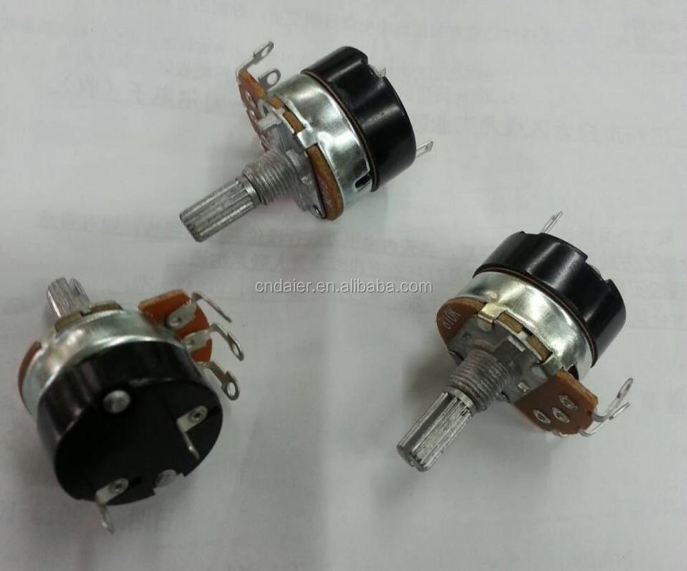 WH138-1A-1-18T audio taper guitar potentiometers with 3 bent terminals