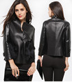 AKleatherware women slim black short leather jacket