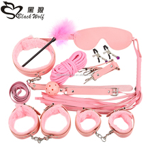 Adult sex product 10pcs set sex toy bondage restrain BDSM PU male bondage set for couple male bondage sm