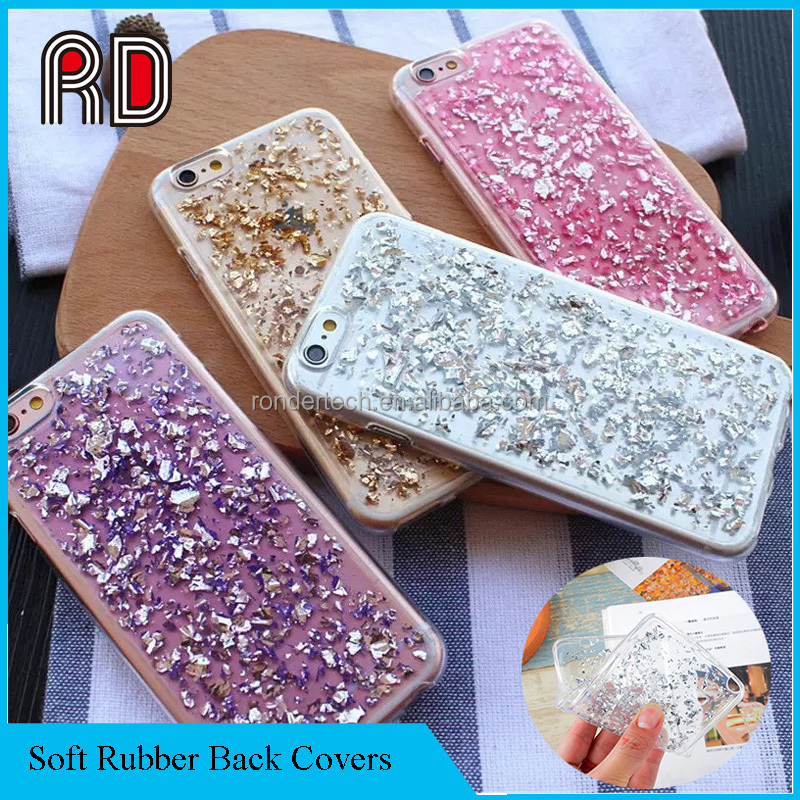 Luxury Ultra Slim Clear Crystal Rubber Plating Sequin TPU Soft Silicone Phone Case for Iphone 7/Samsung S8/Huawei P10 Cover Bag