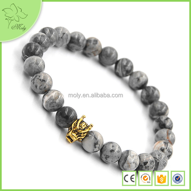 Natural Picasso Stone Buddha Beads Dragon Bracelet Jewelry For Men