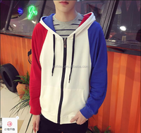 2016 promotional custom cotton men's hip hop hoodie with different colored sleeves