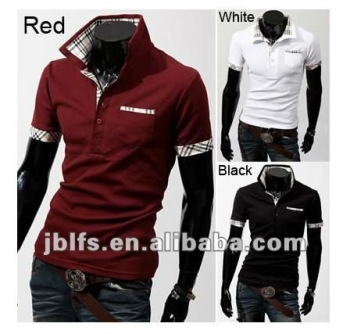 check collar contrast collar double collar polo shirt