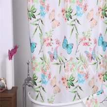 Butterfly Flowers Printing Polyester Shower Curtain