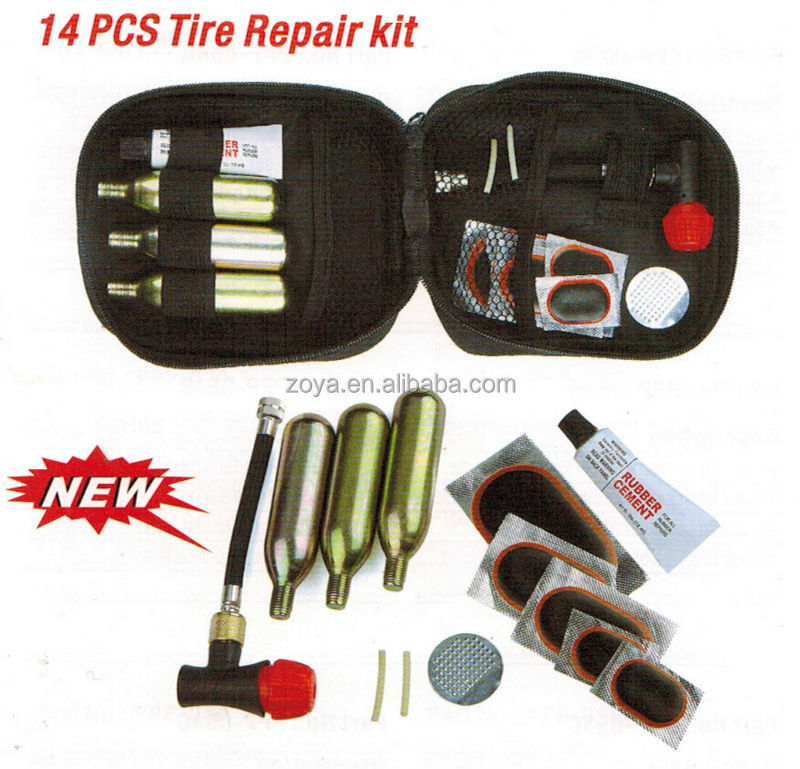 14 pcs Canvas Bag Emergency Bicycle Tire Repair Tool Kit Set