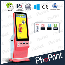 High quality LCD advertising displayer free photo printer kiosk mobile phone charging machine