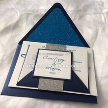 Hot sale elegant personalized navy glitter wedding invitations with white label papers