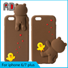 Newest product Korea style 3D cartoon case with Bear animal cute silicone phone case for iphone 7 7 plus 6 plus