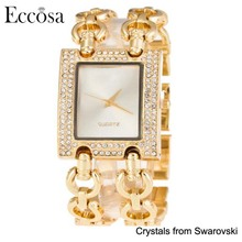 Eccosa Wrist Watch Cheap In Bulk Gold Chain Rectangle Shaped Wrist Watch Women Made With Crystals From Swarovski