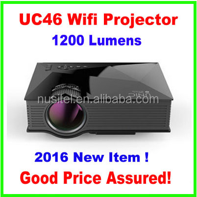 2016 New wifi projector UC46,UNIC 1200Lumens Best Small 800*480 VGA HD wifi LED Projector UC46