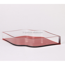 lip shape red custom made Clear Acrylic Serving Tray