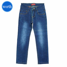 2017 Latest Antique-Brass Button Funky Straight Blue Jeans Boy