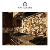 customized natural marble waterjet kitchen backsplash tile