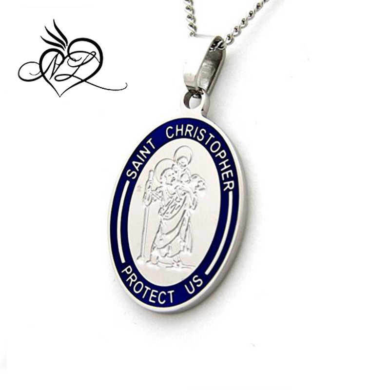 Saint Christopher Protect Us Pendant Necklace - Religious Necklace St Christopher Jewelry Communion Gifts