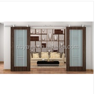 American hilton hotel style full-lite flat top with interior bi-parting glass barn door slab