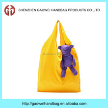 Supermarket cute bear style cheap nylon foldable shopping bag