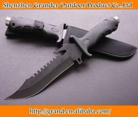 420 53HRC stainless steel blade rubber+plastic handle OEM fixed blade survival knives straight camping hunting knife rescue tool