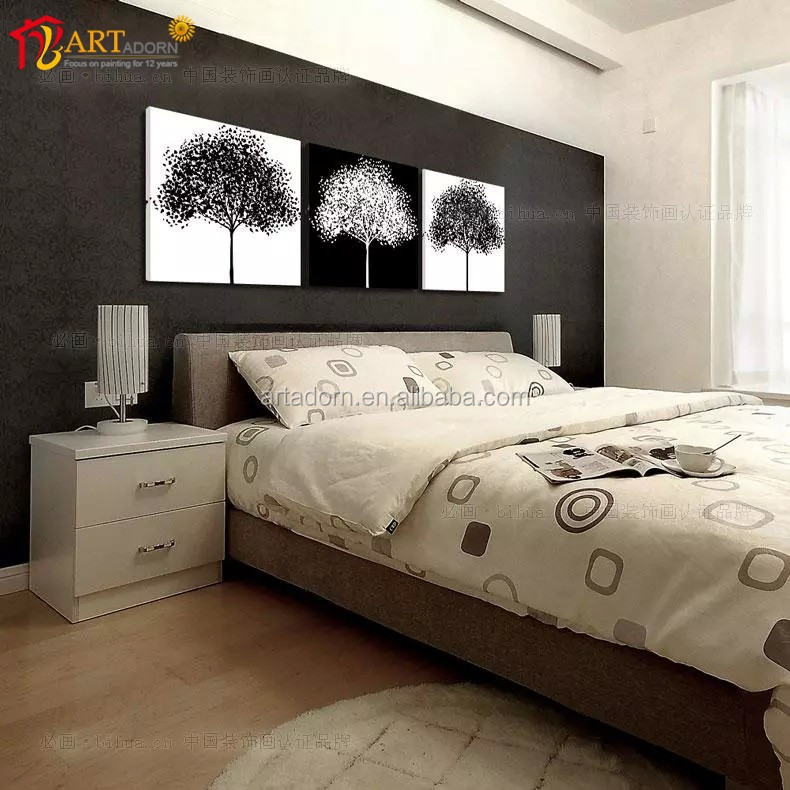 Home Decoration Multi-panel Canvas Wall <strong>Art</strong> Black and White Tree Painting