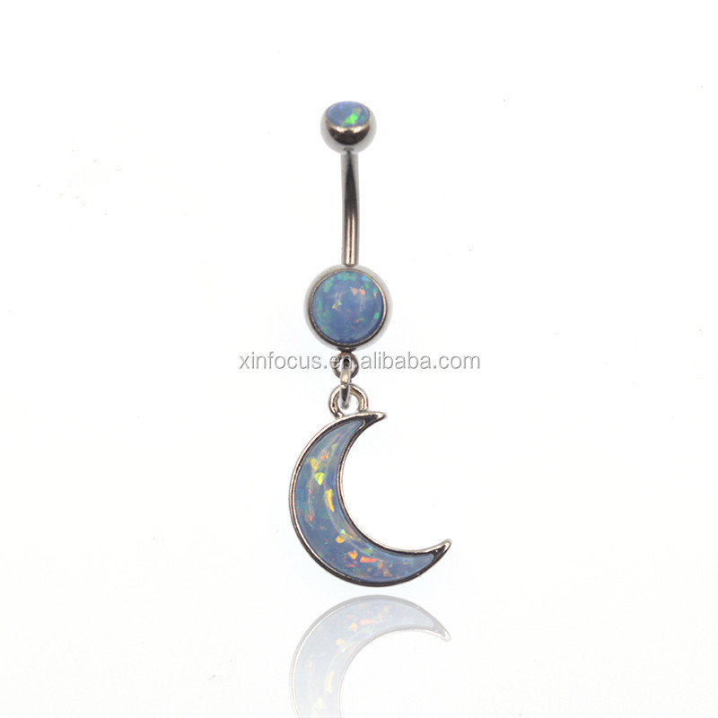 Opal Moon Dangle Belly Navel Ring Body Jewelry Piercings