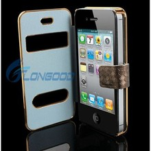 Luxury Synthetic Magnetic PU Leather Case for Apple iPhone 4 4G 4S