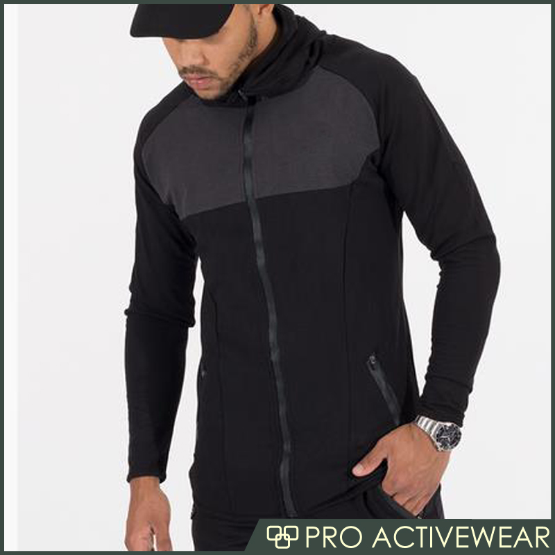 Outdoor Sportswear Durable Drawstring Sweat Black Men Zipper Gym Sports Jackets
