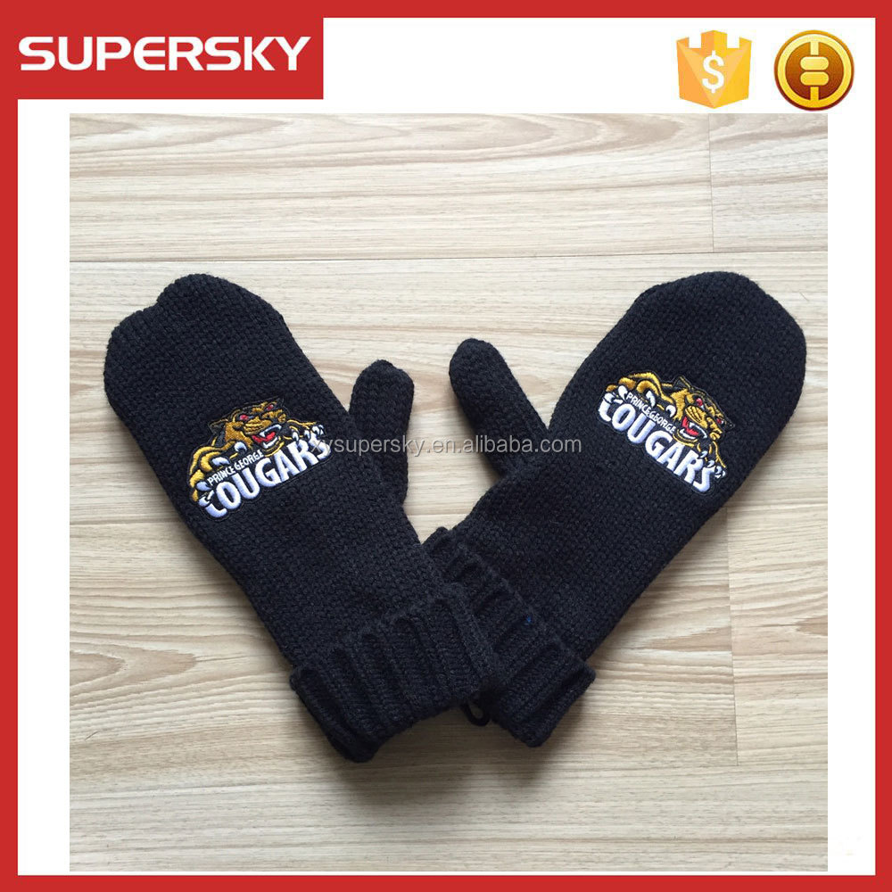 C82 custom embroidered knit mittens with fleece lining