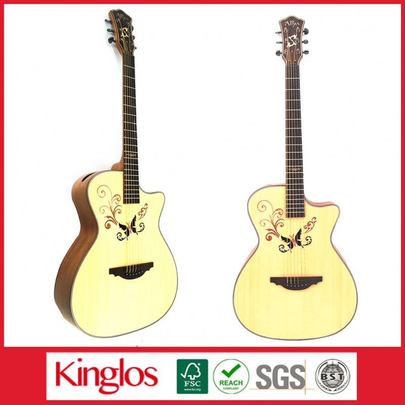 Special Design Good Quality Artistic Colorful Acoustic Guitar Made of Solid Spruce Wood Mod for Beginers (S41U-008-077)