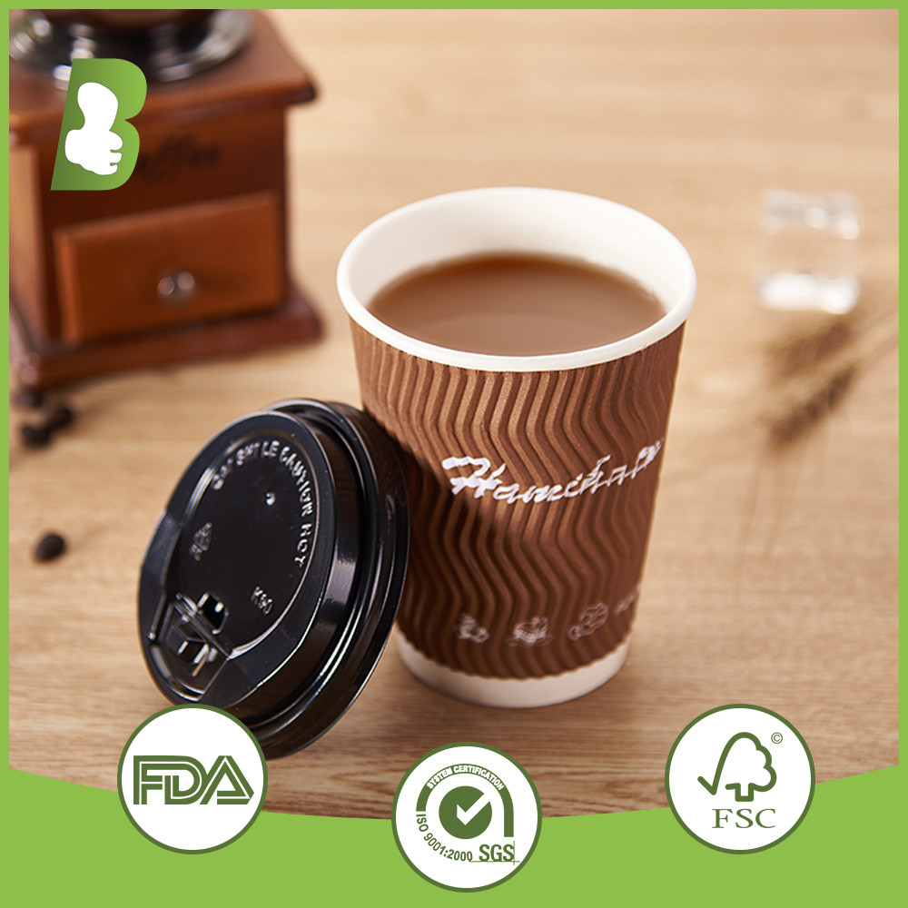 8oz 240ml triple wall customized printed ripple wall paper cups