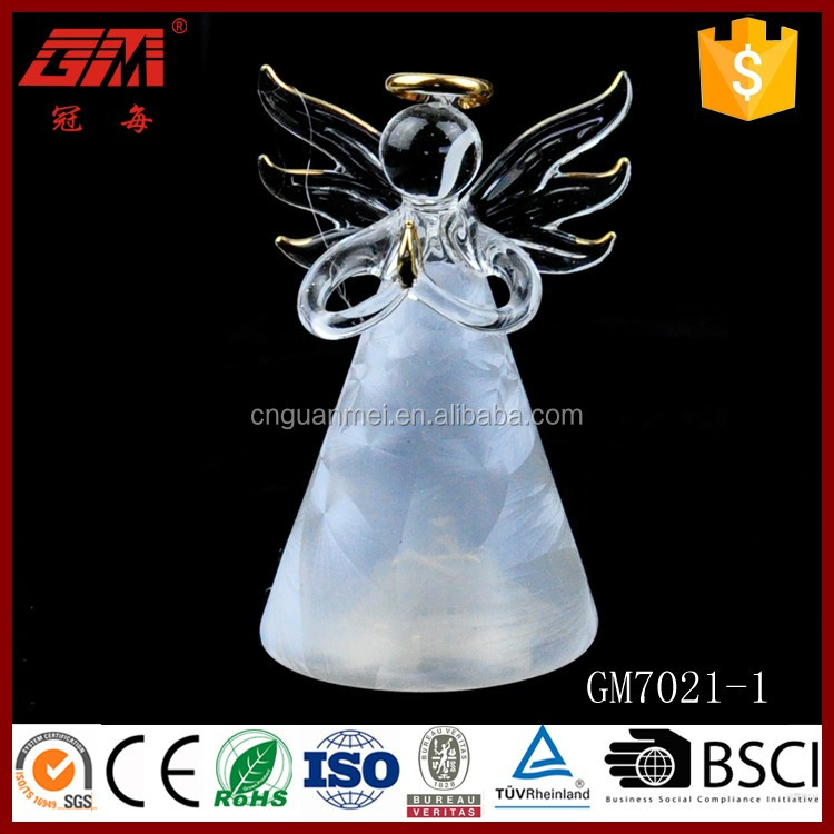small size christmas glass angel ornaments with led light