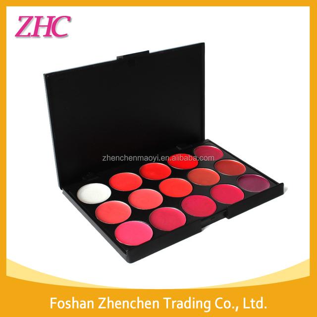OEM Professional lipgloss palette 15 color high light blusher