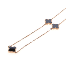 Four leaf clover rose gold necklace gun enamel
