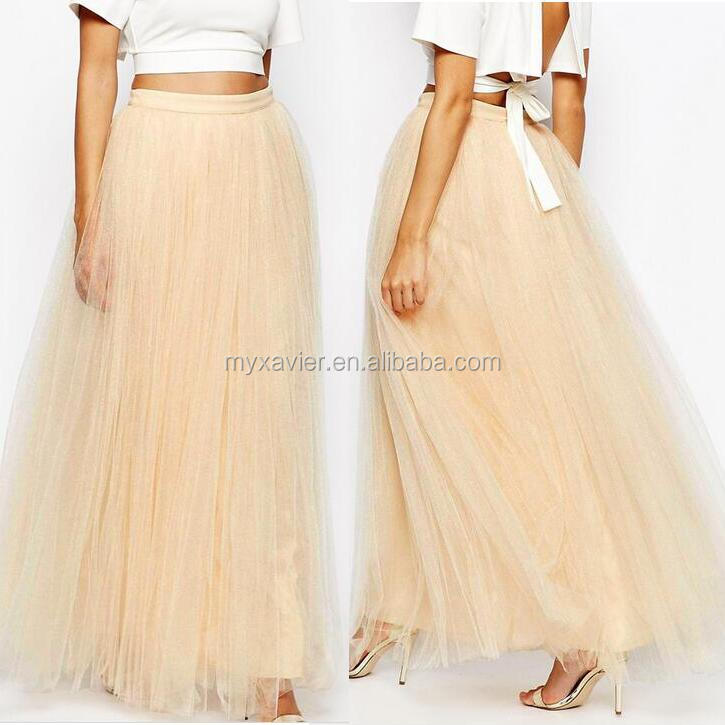Latest long skirt design tulle fabric zip back fastening botton fitted high waist maxi skirt
