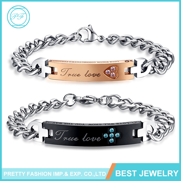ES180 Wholesale Fashion Jewelry Couples Titanium Stainless Steel Bracelet For Men Clasp True Love With Rhinestone