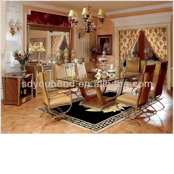 0016 High quality royal solid wood classic Italian style luxury dining room furniture