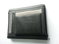 2015 Leather Portfolio With Zipper&Calculator&Notepad