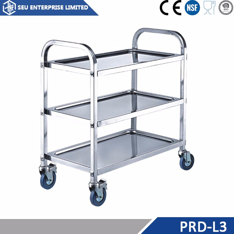 Stainless steel tea serving cart trolley