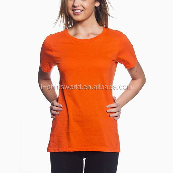 wholesale cheap cotton polyester blend women t shirt with your company logo
