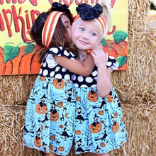 Children Halloween Day Dress Kids Fly Sleeve Pumpkin Print Princess Party Dress For 1-5 years old