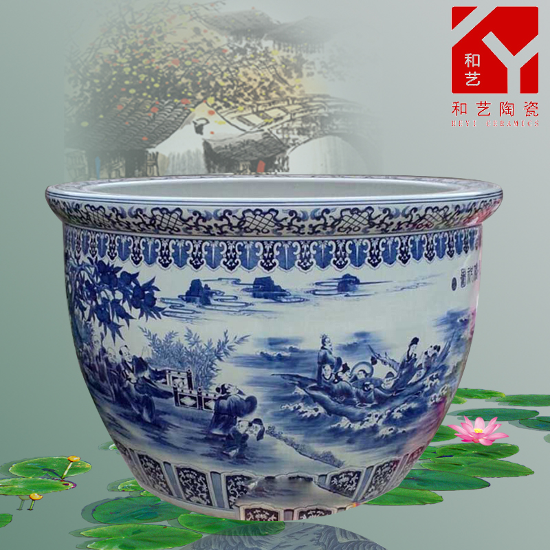 home decoration round ceramics fish tank