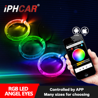 Good quality led RGB ring angel eyes size controled by mobilephone APP for panamera projector lens headlight